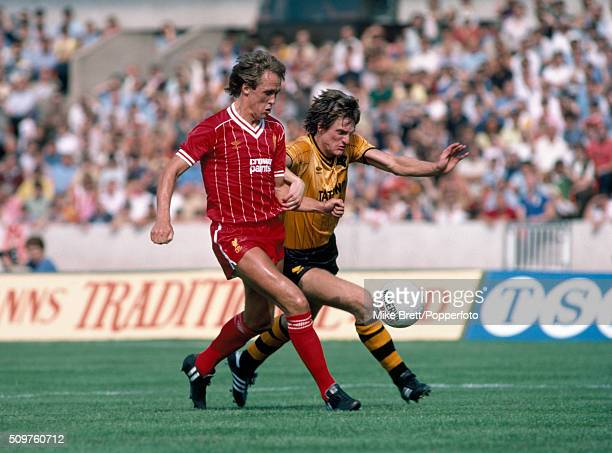 Phil Neal of Liverpool clashes with Mel Eves of Wolverhampton Wanderers during their First Division match at Molineux in Wolverhampton on 27th August...