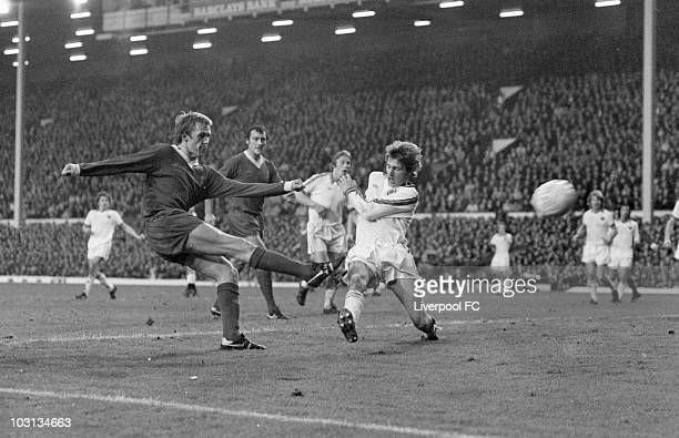 Phil Neal of Liverpool launches a shot towards goal during the English League Division One match between Liverpool and Aston Villa held on November...