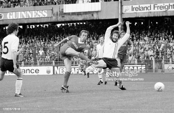 Phil Neal of Liverpool scores during the pre-season friendly match between Dundalk and Liverpool at Lansdowne Road on July 30, 1980 in Dublin,...