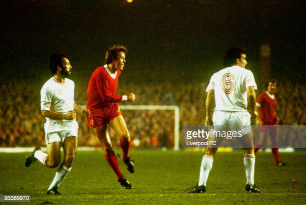 Phil Neal of Liverpool shoots at goal during the European Cup Second Round Second Leg match between Liverpool and Aberdeen held on November 5, 1980...