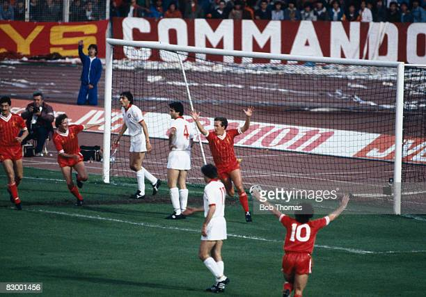 Phil Neal turns to celebrate after scoring Liverpool's goal against AS Roma in the European Cup Final at the Olympic Stadium in Rome, May 30th 1984....