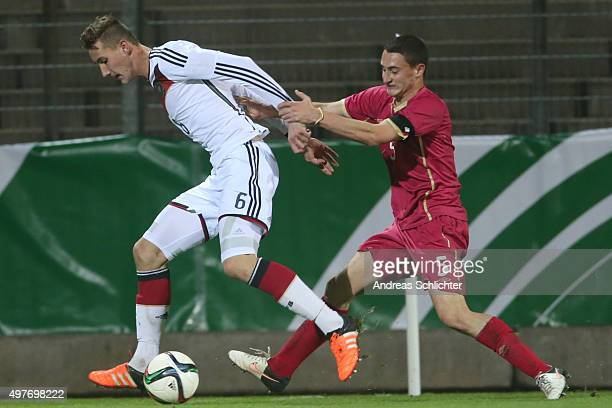Phil Neumann of Germany challenges Filip Stankovic of Serbia during the U19 FourNationsCup Germany vs Serbia on November 15 2015 in Pirmasens Germany