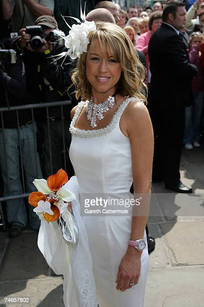 Phil Nevilees wife Julie Killilea arrives at Manchester Cathedral for the wedding of footballer Manchester United and England Gary Neville and Emma...