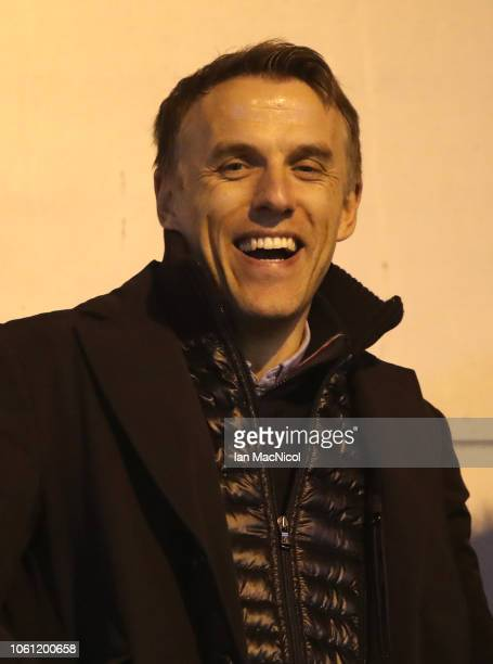 Phil Neville looks on during the Women's International Friendly match between Scotland and United States at The Simple Digital Arena on November 13...