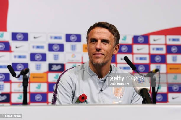 Phil Neville, Manager of England speaks to the media during a press conference on the eve of the Women's International Friendly between England and...