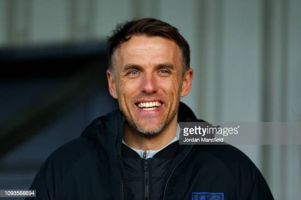 Phil Neville manager of the England Women's Team watches during the FA WSL match between Arsenal Women and Chelsea Women at Meadow Park on January 13...