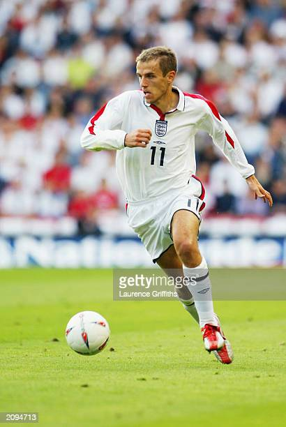 Phil Neville of England runs with the ball during the UEFA European Championships 2004 Group 7 Qualifying match between England and Slovakia held on...