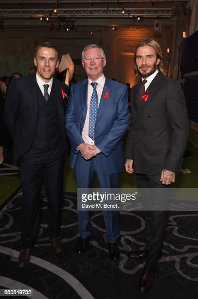 Phil Neville Sir Alex Ferguson and David Beckham attend the World Aids Day Charity Gala aimed at using football to educate and inspire vulnerable...