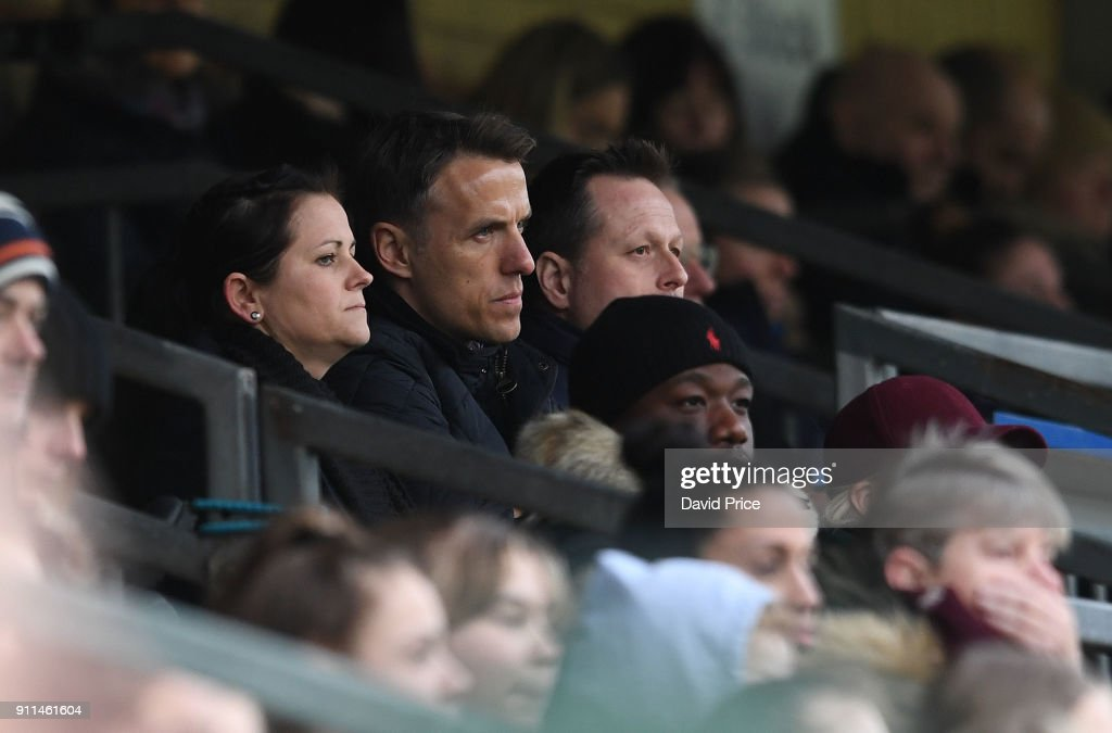 Phil Neville the England Womens Head Coach during the match between Reading FC Women and Arsenal Women at Adams Park on January 28, 2018 in High Wycombe, England.