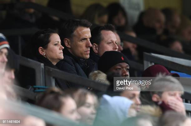 Phil Neville the England Womens Head Coach during the match between Reading FC Women and Arsenal Women at Adams Park on January 28 2018 in High...