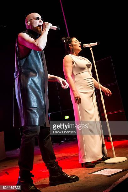 Phil Oakey and Joanne Catherall of the British band The Human League perform live during a concert at the Huxleys on November 19 2016 in Berlin...