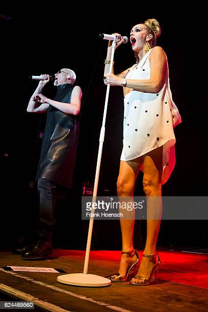 Phil Oakey and Susan Ann Sulley of the British band The Human League perform live during a concert at the Huxleys on November 19 2016 in Berlin...
