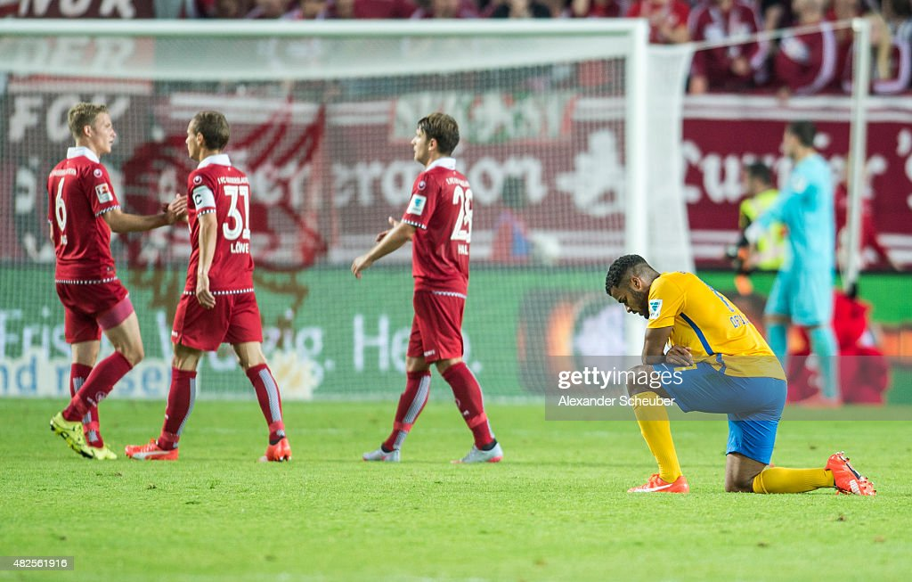 Phil Ofosu-Ayeh (Eintracht Braunschweig) is disappointed during the 2. Bundesliga match between 1. FC Kaiserslautern and Eintracht Braunschweig at Fritz-Walter-Stadion on July 31, 2015 in Kaiserslautern, Germany.