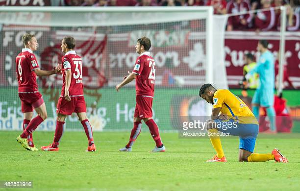 Phil OfosuAyeh is disappointed during the 2 Bundesliga match between 1 FC Kaiserslautern and Eintracht Braunschweig at FritzWalterStadion on July 31...