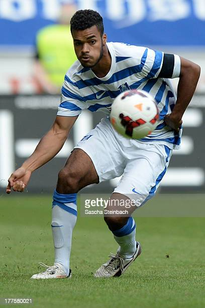 Phil OfosuAyeh of Duisburg runs with the ball during the 3 Liga match between MSV Duisburg and Chemintzer FC at SchauinslandReisenArena on August 24...