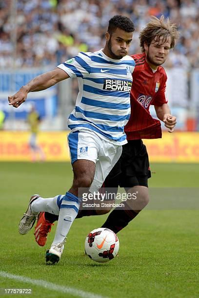 Phil OfosuAyeh vies with Benjamin Foerster of Chemnitz during the 3 Liga match between MSV Duisburg and Chemintzer FC at SchauinslandReisenArena on...