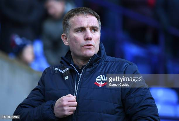 Phil Parkinson manager of Bolton Wanderers during the The Emirates FA Cup Third Round match between Bolton Wanderers and Huddersfield Town at Macron...