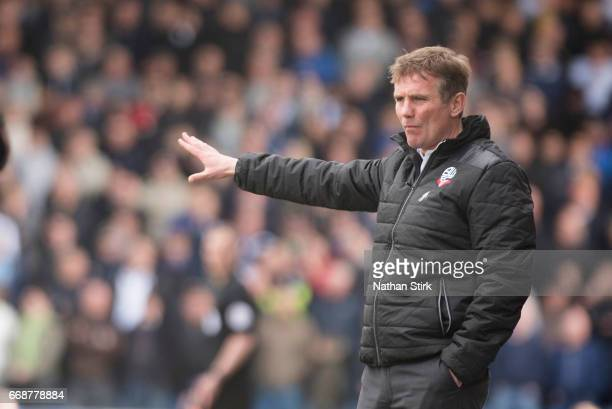 Phil Parkinson manager of Bolton Wanderers gives instructions during the Sky Bet League One match between Oldham Athletic and Bolton Wanderers at...