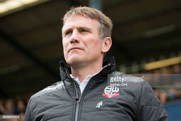 Phil Parkinson manager of Bolton Wanderers looks on during the Sky Bet League One match between Oldham Athletic and Bolton Wanderers at Boundary Park...