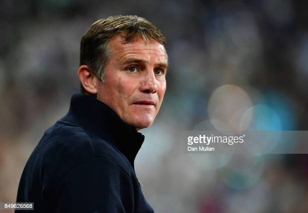 Phil Parkinson manager of Bolton Wanderers looks on prior to the Carabao Cup Third Round match between West Ham United and Bolton Wanderers at The...