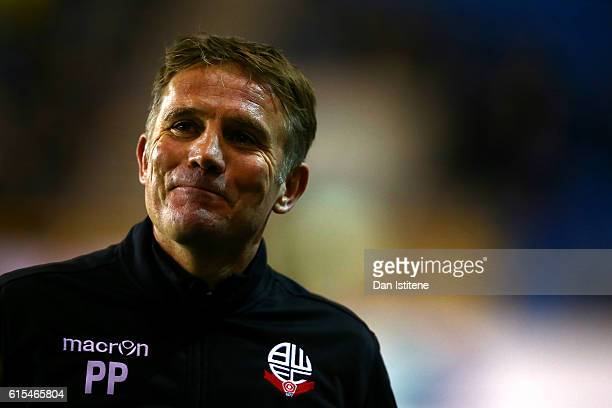 Phil Parkinson manager of Bolton Wanderers smiles during the Sky Bet League One match between Millwall and Bolton Wanderers at The Den on October 18...