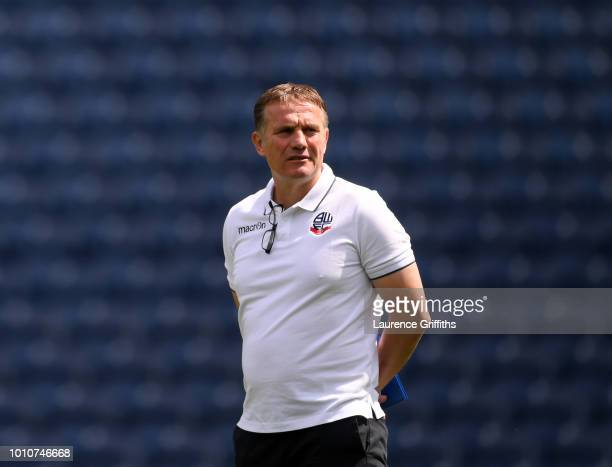 Phil Parkinson Manager of Bolton Wanderers walks out on the pitch prior to the Sky Bet Championship match between West Bromwich Albion and Bolton...