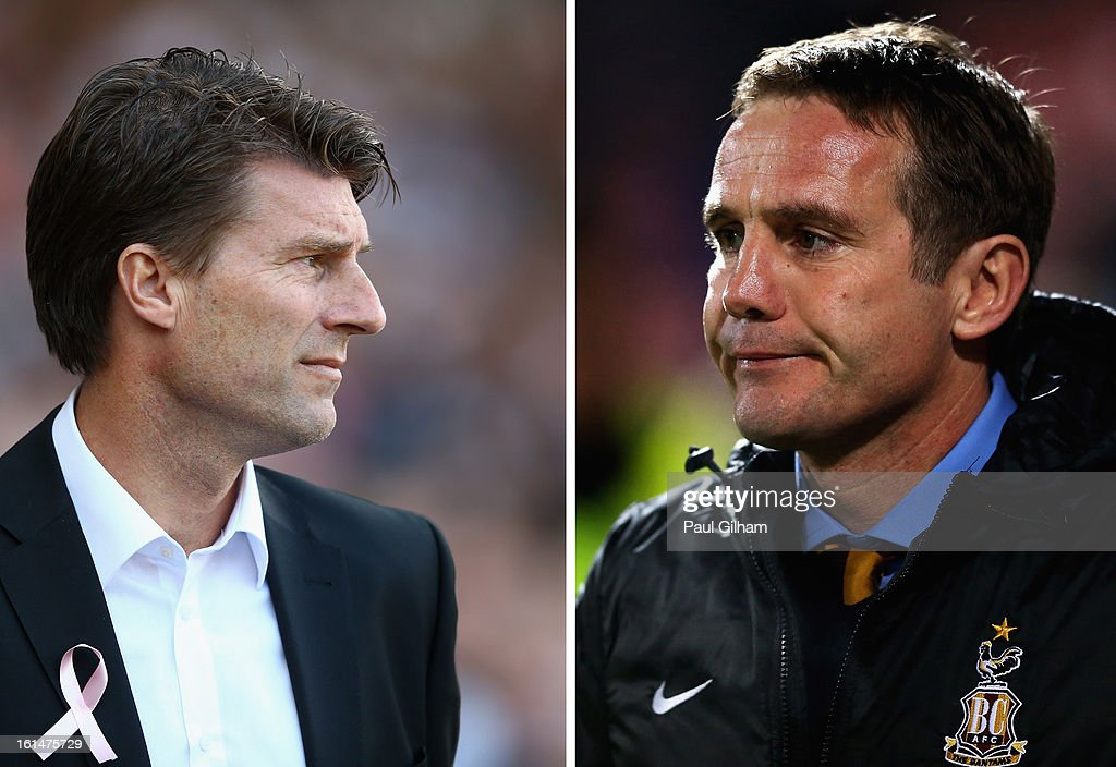 IMAGES - a comparison has been made between Michael Laudrup (L) and Phil Parkinson. Original image ids are 153538317, 157239656) (FILE PHOTO) In this composite image a comparison has been made between Managers Michael Laudrup of Swansea City (L) and Phil Parkinson of Bradford City. League Two side Bradford City will take on Premier League side Swansea City in the Capital One Cup Final at Wembley Stadium in London on Sunday 24 February, 2013. BRADFORD, ENGLAND - NOVEMBER 30: Phil Parkinson, manager of Bradford City looks on during the FA Cup sponsored by Budweiser Second Round match between Bradford City and Brentford at Coral Windows Stadium, Valley Parade on November 30, 2012 in Bradford, England.