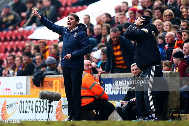 Phil Parkinson, manager of Bradford issues instructions to his players during the FA Cup Fifth Round match between Bradford City and Sunderland at...