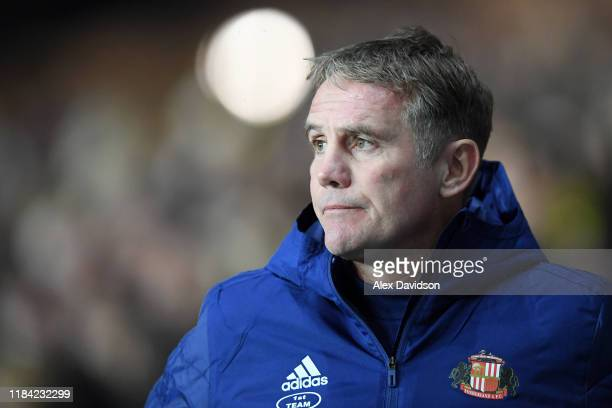 Phil Parkinson, Manager of Sunderland AFC looks on prior to the Carabao Cup Round of 16 match between Oxford United and Sunderland AFC at Kassam...
