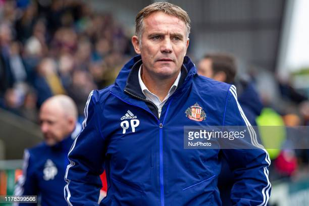 Phil Parkinson Manager of Sunderland during the Shrewsbury Town and Sunderland at Montgomery Meadow, Shrewsbury on Saturday 26th October 2019.