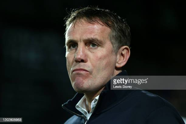 Phil Parkinson, manager of Sunderland looks on during the Sky Bet League One match between Tranmere Rovers and Sunderland at Prenton Park on January...