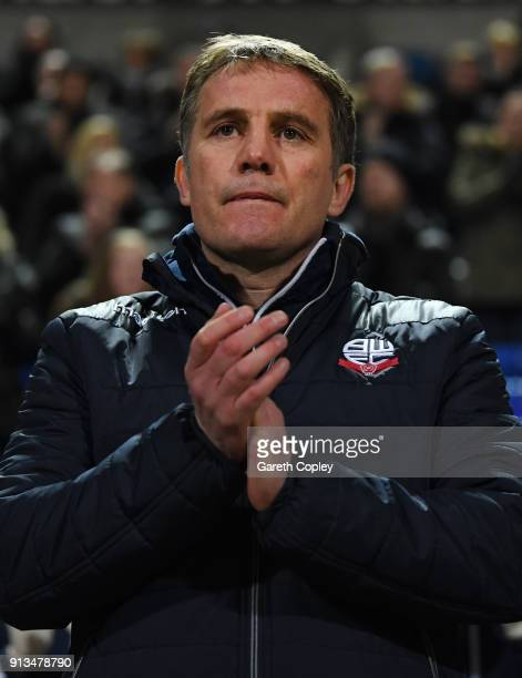 Phil Parkinson of Bolton Wanderers looks on prior to the Sky Bet Championship match between Bolton Wanderers and Bristol City at Macron Stadium on...