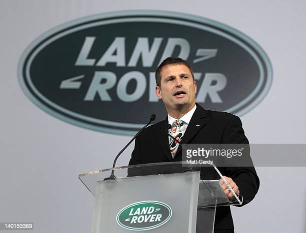 Phil Popham global operations director at Jaguar Land Rover speaks to employees at a event to mark the 1000th Land Rover Discovery being built at the...