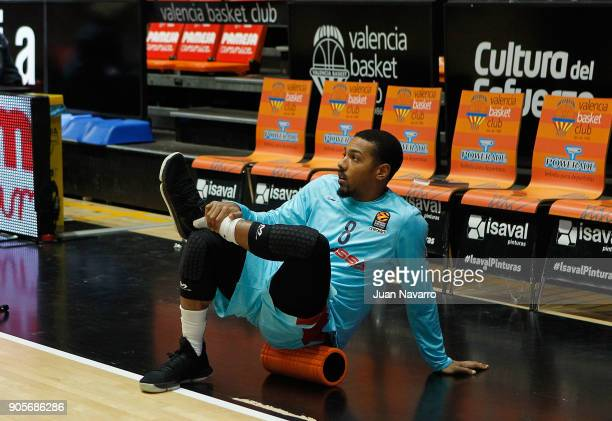 Phil Pressey #8 of FC Barcelona Lassa warms up before the 2017/2018 Turkish Airlines EuroLeague Regular Season Round 18 game between Valencia Basket...