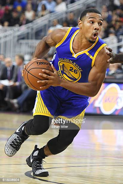 Phil Pressey of the Golden State Warriors brings the ball up the court against the Los Angeles Lakers during their preseason game at TMobile Arena on...