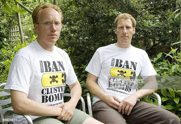 Phil Pritchard and Toby Olditch who were recently acquitted of attempting to sabotage American B-52 bombers at RAF Fairford in Gloucestershire pose...