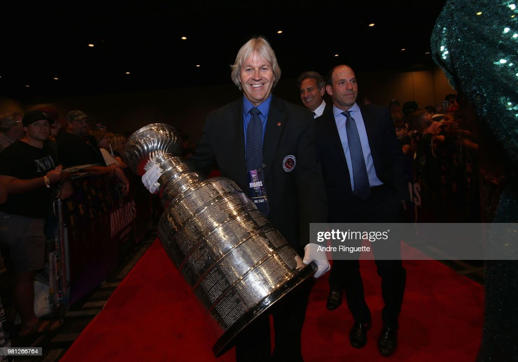 Phil Pritchard, Keeper of the Cup, arrives with the Stanley Cup at the 2018 NHL Awards presented by Hulu at the Hard Rock Hotel & Casino on June 20, 2018 in Las Vegas, Nevada.
