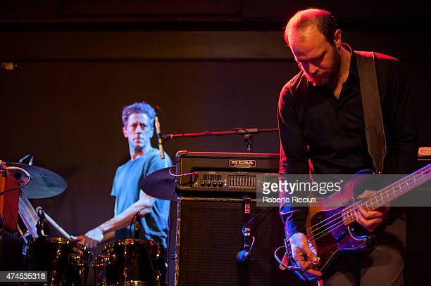 Phil Puleo and Christopher Pravdica of Swans perform on stage at Glasgow Art School on May 23, 2015 in Glasgow, United Kingdom