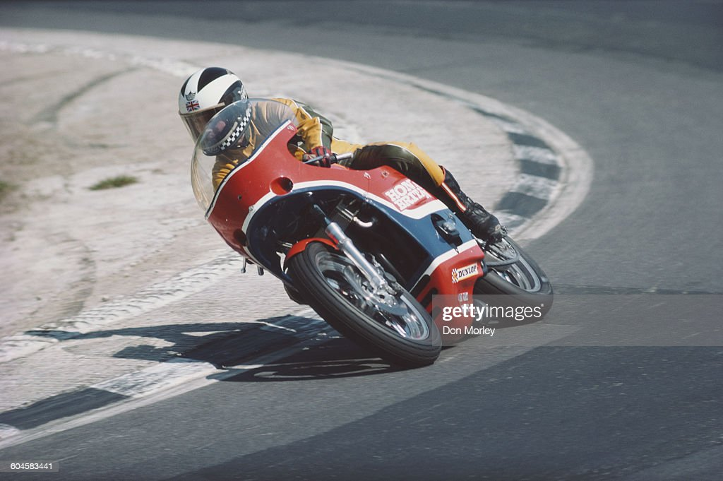 Phil Read of Great Britain rides the Honda CB750 SOHC duringa pre season test on 1 March 1977 at the Silverstone Circuit in Towcester, Great Britain.