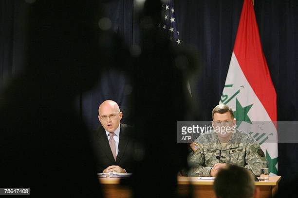 Phil Reeker US Embassy in Iraq spokesman speaks during a joint press conference with US Army Major General Kevin Bergner spokesman for the...