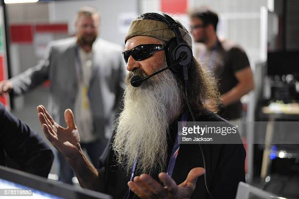 Phil Robertson of Duck Commander talks with Stephen K Bannon in an episode of Brietbart News Daily on SiriusXM Patriot at Quicken Loans Arena on July...