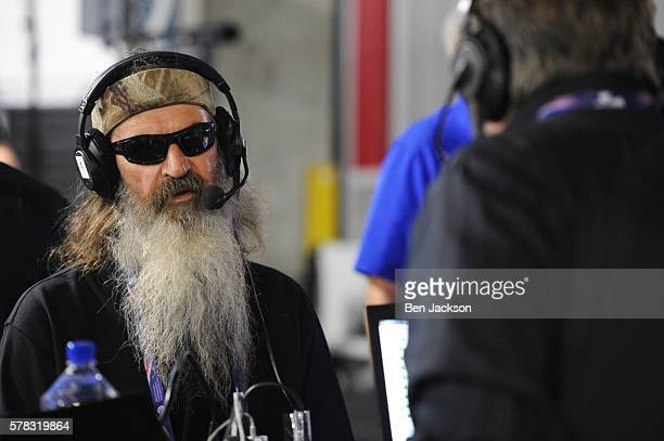 Phil Robertson of Duck Commander talks with Stephen K Bannon while appearing on Brietbart News Daily on SiriusXM Patriot at Quicken Loans Arena on...