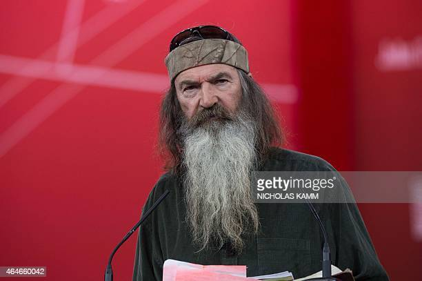 Phil Robertson of television show Duck Dynasty speaks at the annual Conservative Political Action Conference at National Harbor Maryland outside...