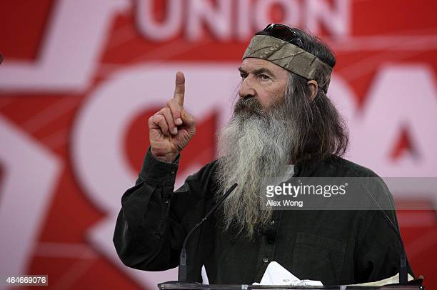 Phil Robertson of TV show Duck Dynasty speaks at the 42nd annual Conservative Political Action Conference February 27 2015 in National Harbor...