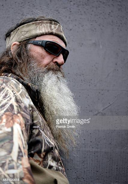 Phil Robertson takes part in prerace ceremonies for the NASCAR Sprint Cup Series Duck Commander 500 at Texas Motor Speedway on April 6 2014 in Fort...