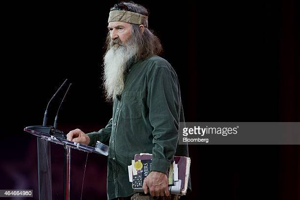 Phil Robertson TV personality from AE Television Networks LLC's Duck Dynasty show speaks during the Conservative Political Action Conference in...
