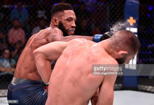 Phil Rowe punches Leon Shahbazyan in their welterweight fight during Dana White's Contender Series season three week nine at the UFC Apex on August...