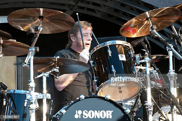 Phil Rudd of AC/DC performs on stage on the first day of the Download Festival at Donington Park on June 11 2010 in Derby England