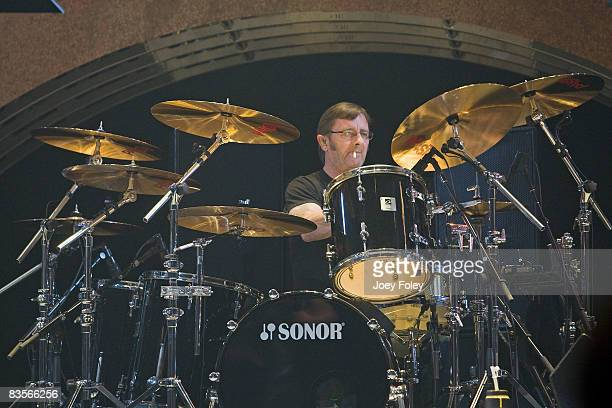 Phil Rudd of the Australian rock band AC/DC performs in concert on their 'Black Ice World Tour' at the Conseco Fieldhouse on November 3 2008 in...
