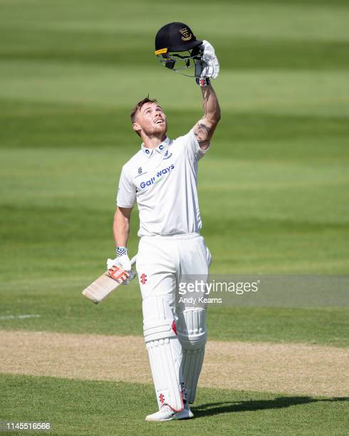 Phil Salt of Sussex acknowledges the applause on reaching his century during the Specsavers County Championship Division Two match between...